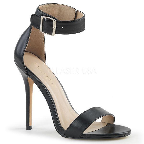 Schwarze High-Heel Sandalette mit breitem Fesselriemchen und großer silberfarbener Schnalle Amuse-10